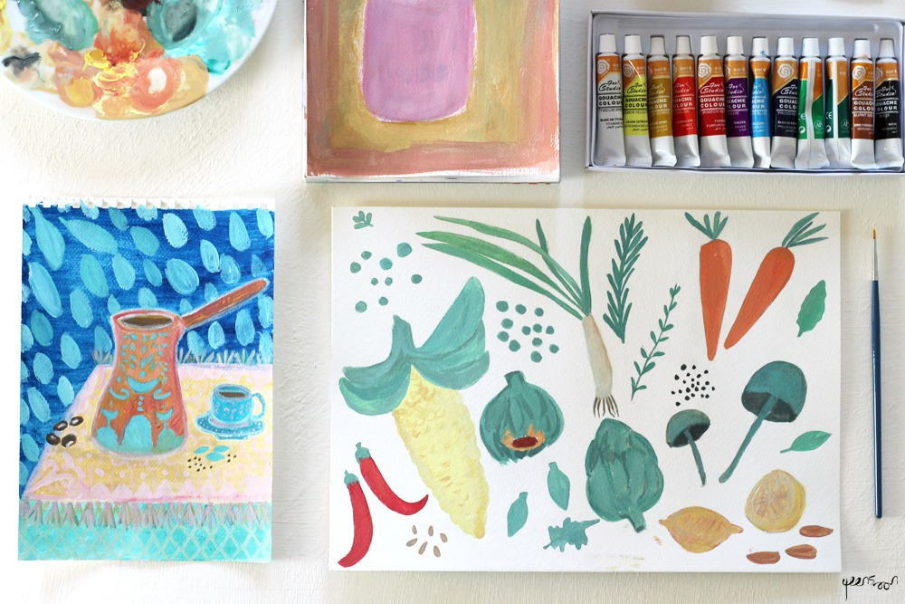Gouache Experiments: Week 1 | By Yaansoon Illustration + Art | Food paintings, Turkish coffee pot, vegetables