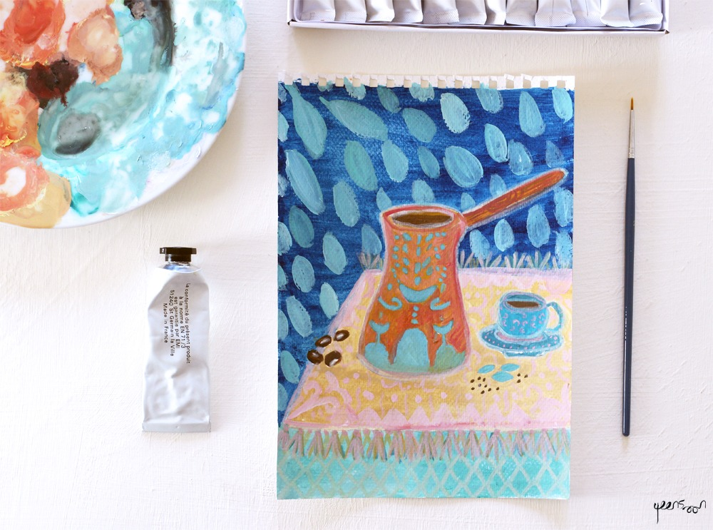 Gouache Experiments: Week 1 | By Yaansoon Illustration + Art | Food paintings, Turkish coffee pot
