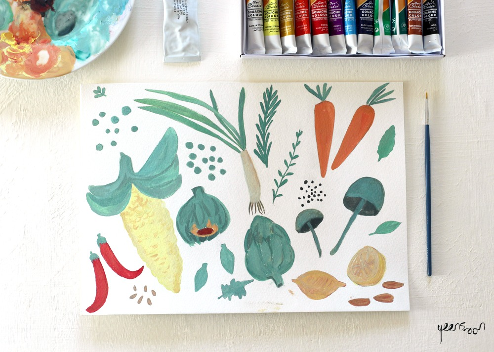 Gouache Experiments: Week 1 | By Yaansoon Illustration + Art | Food paintings, vegetables