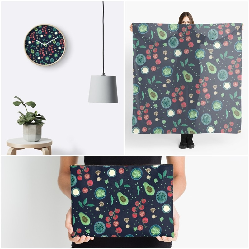 Italian Food Illustration in Gouache - surface pattern products by Yaansoon Illustration + Art on Redbubble